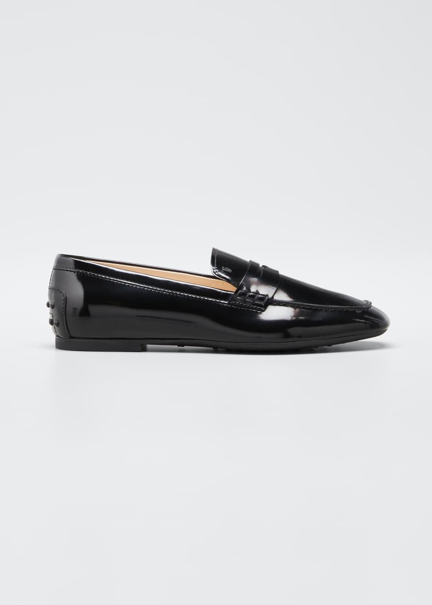 Image 1 of 6: Patent Rubber-Sole Loafers