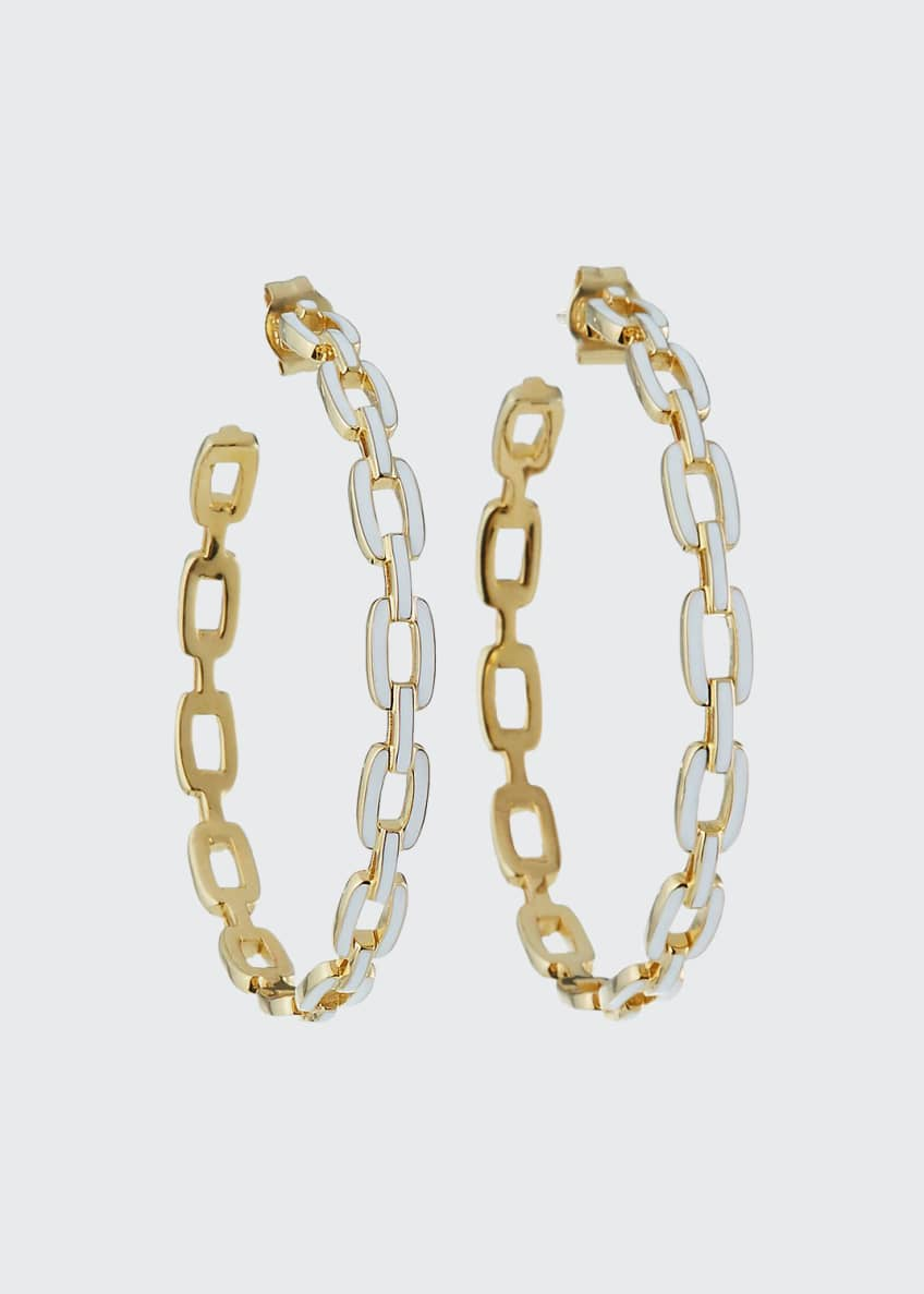 Jennifer Zeuner Carmine Enamel Medium Hoop Earrings