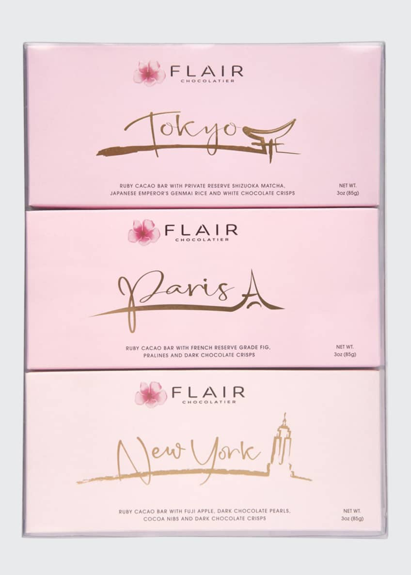 Image 1 of 2: Set of New York, Paris and Tokyo Ruby Cacao Bars