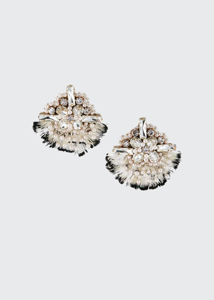 Mignonne Gavigan Dylan Feather-Trim Earrings