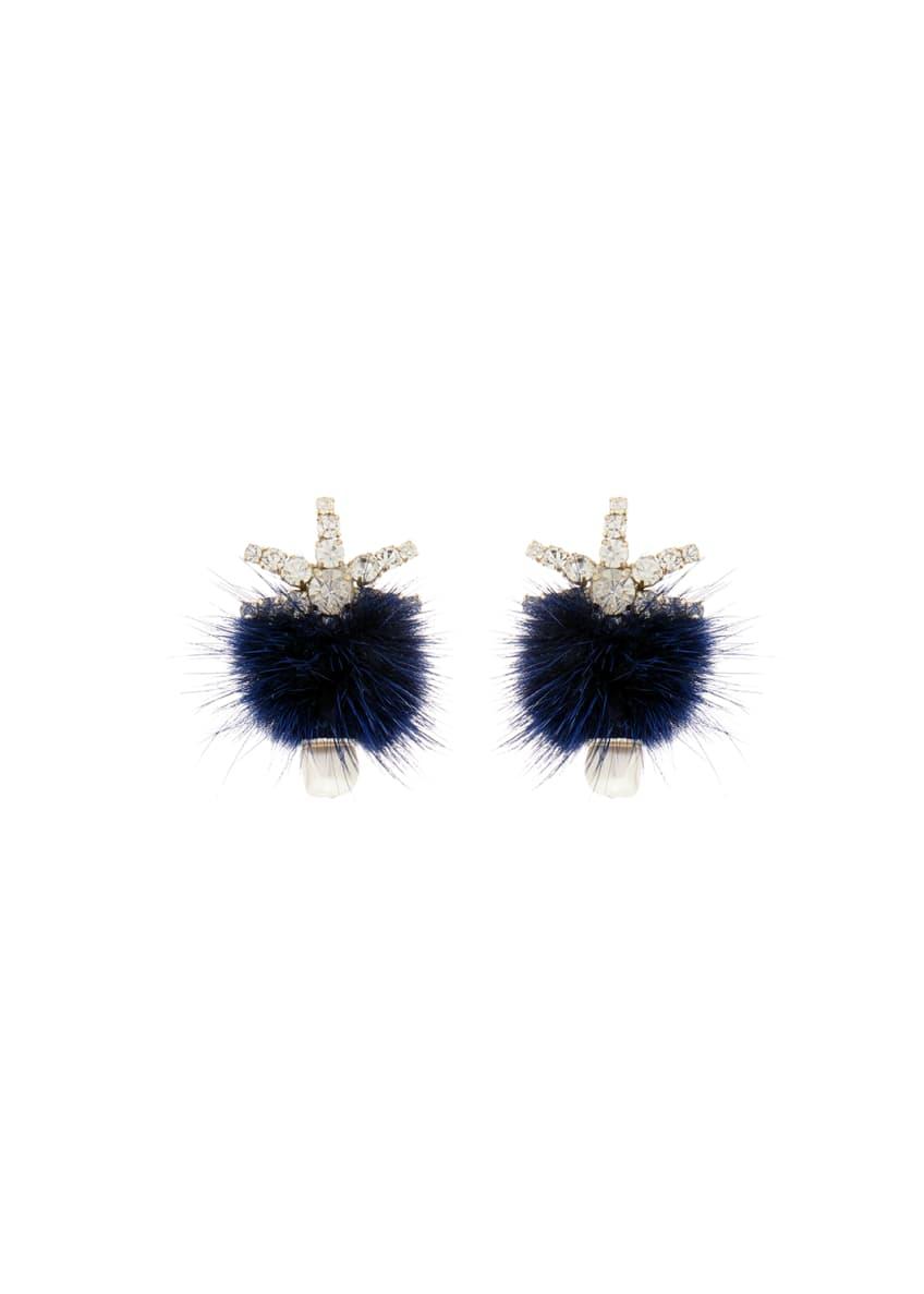 Mignonne Gavigan Fields Pompom Mink Fur Earrings