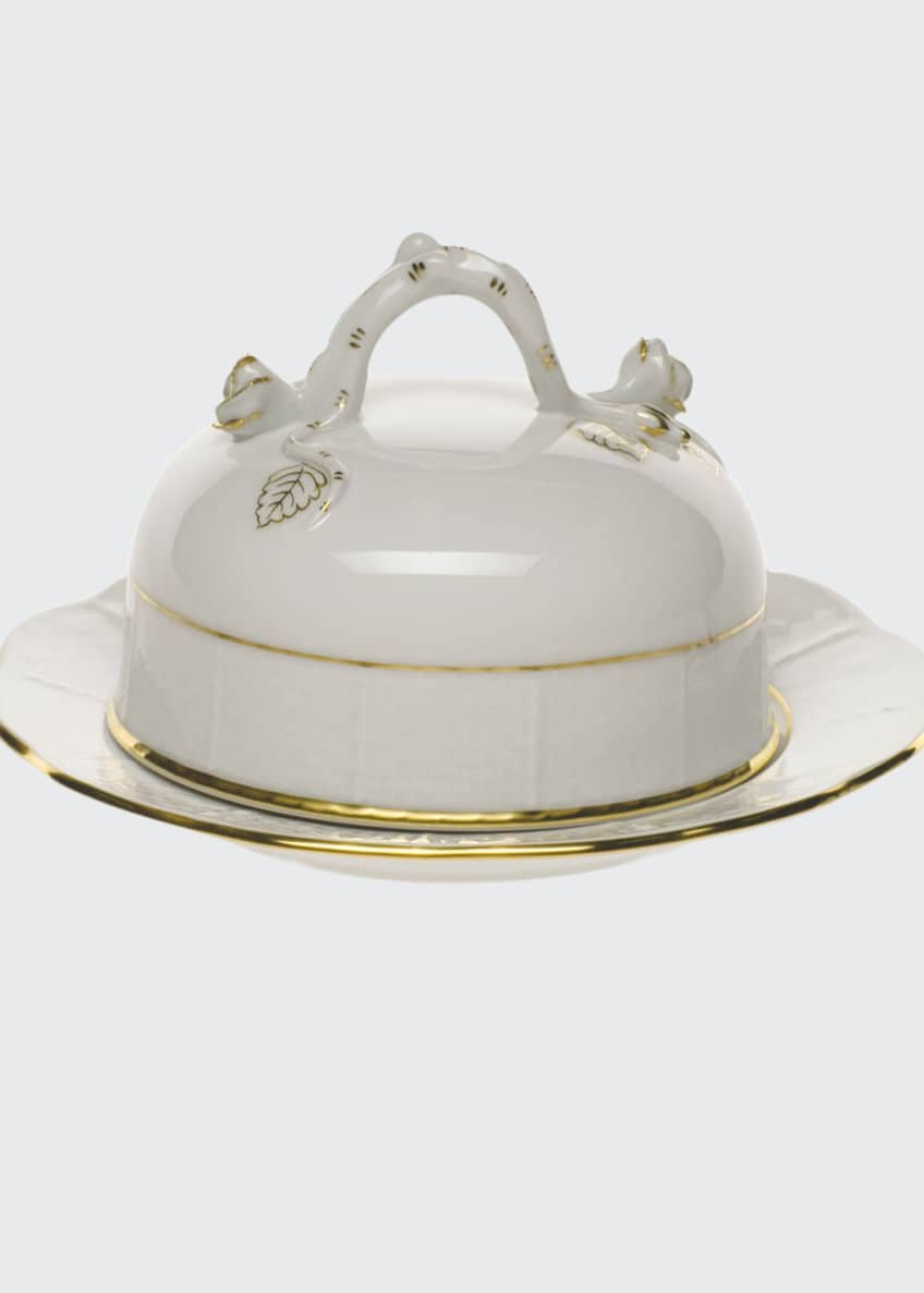 Herend Golden Edge Covered Butter Dish
