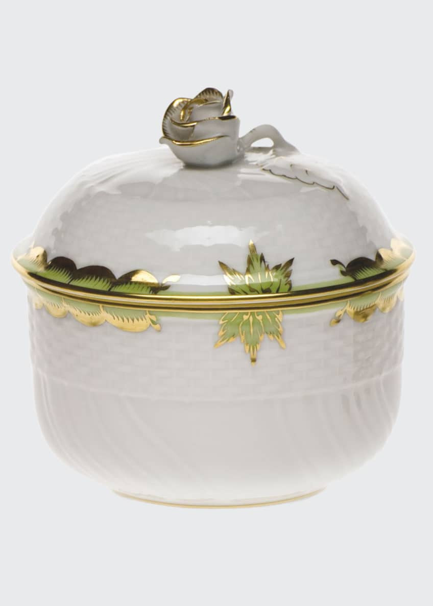 Herend Princess Victoria Green Covered Sugar Dish with