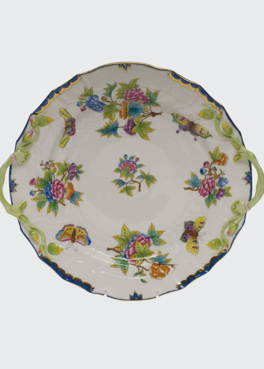 Image 1 of 1: Queen Victoria Blue Chop Plate with Handles