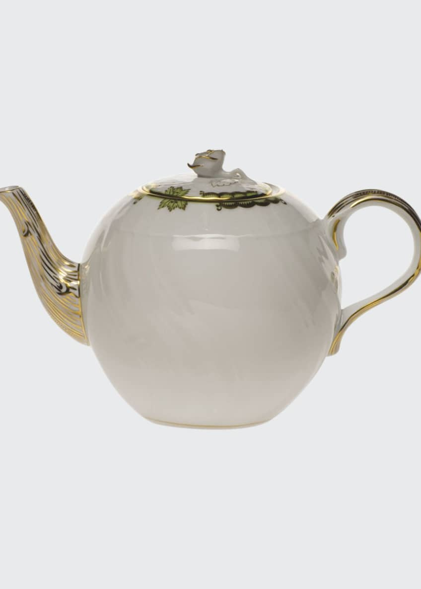 Herend Princess Victoria Green Teapot with Rose