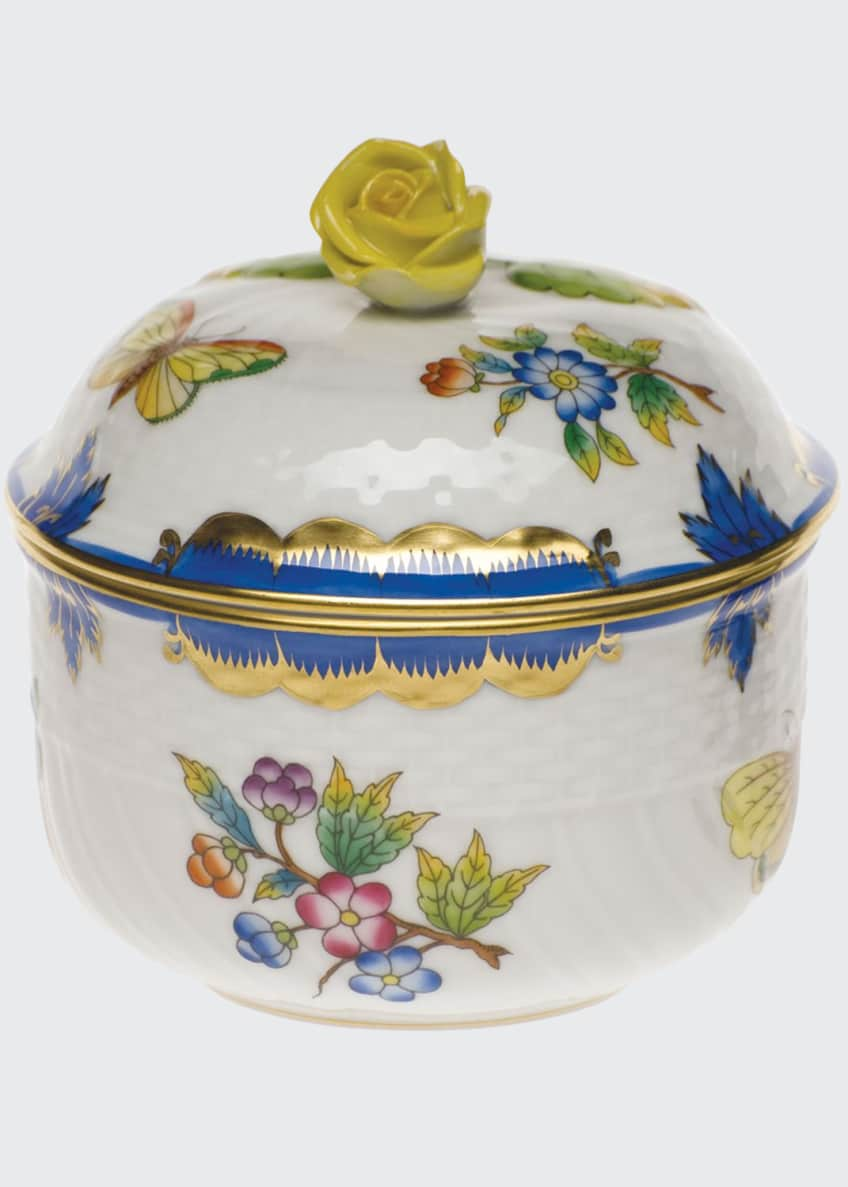 Herend Queen Victoria Blue Covered Sugar Dish
