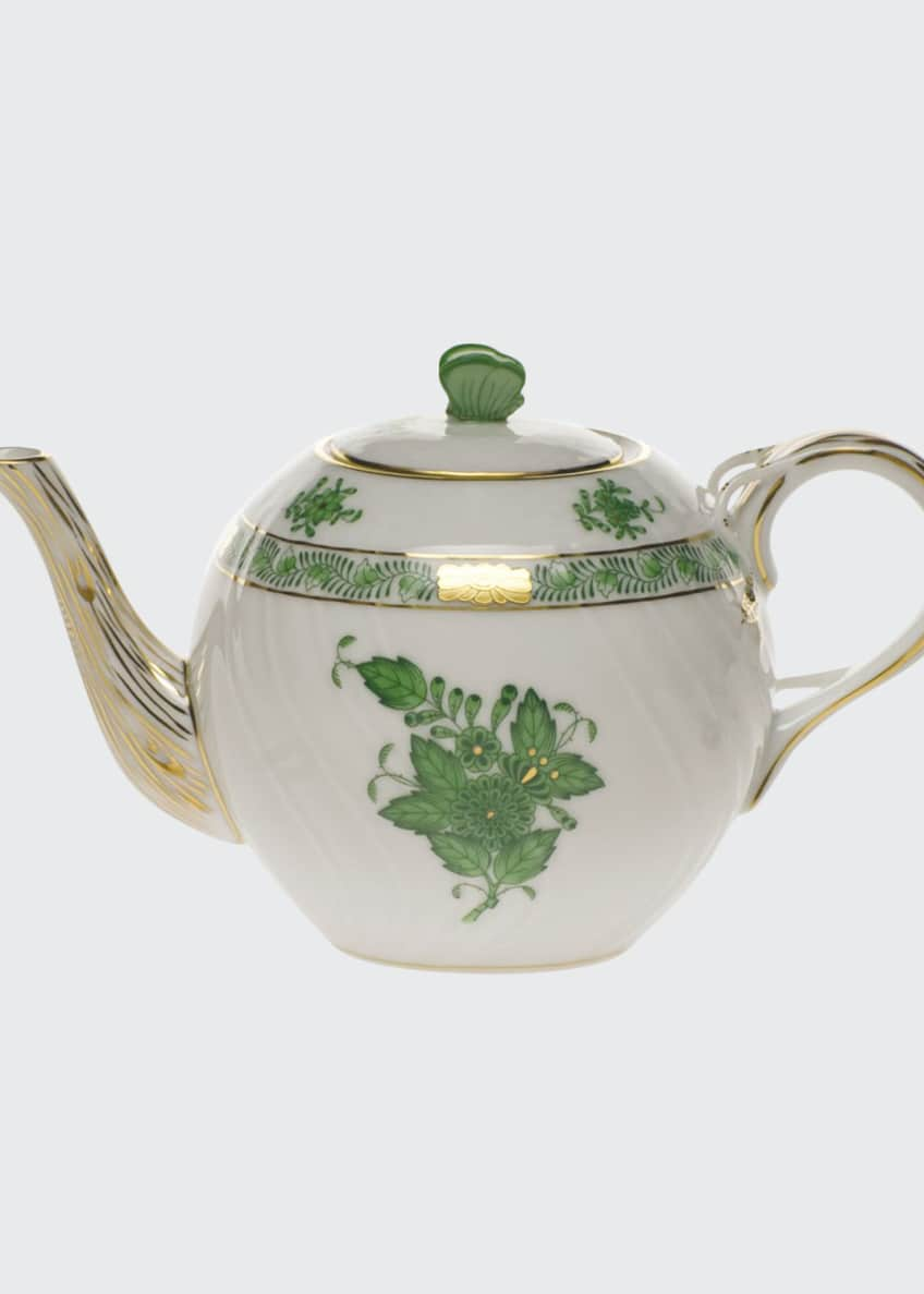 Herend Chinese Bouquet Green Teapot with Butterfly