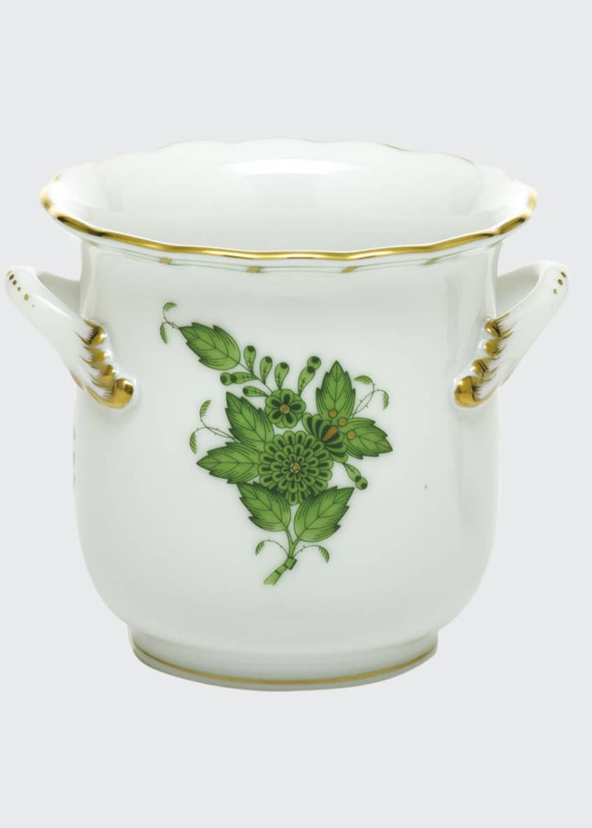 Herend Chinese Bouquet Green Mini Cache Pot with