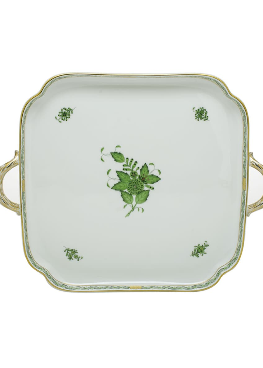 Image 1 of 1: Chinese Bouquet Green Square Tray with Handles