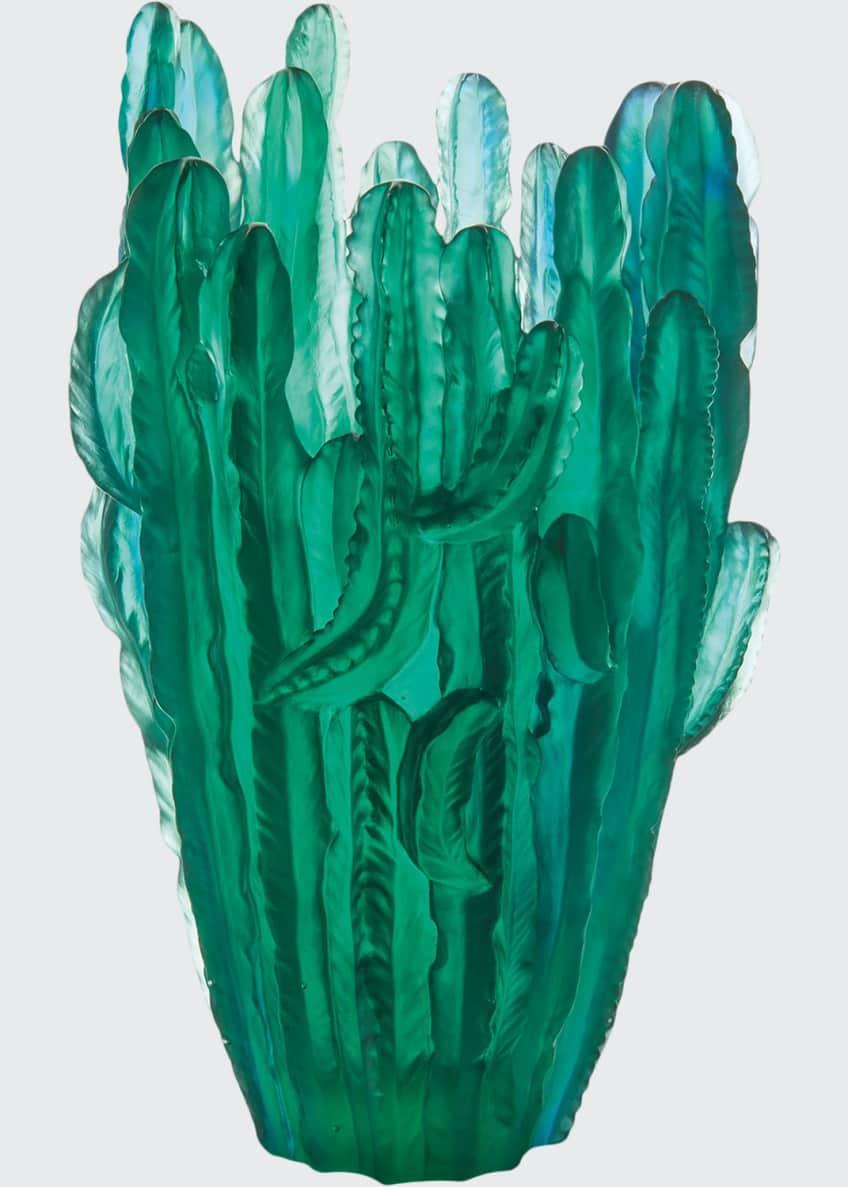 Daum Large Green Cactus Vase