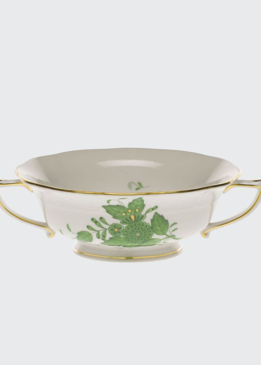 Herend Chinese Bouquet Green Cream Soup Cup