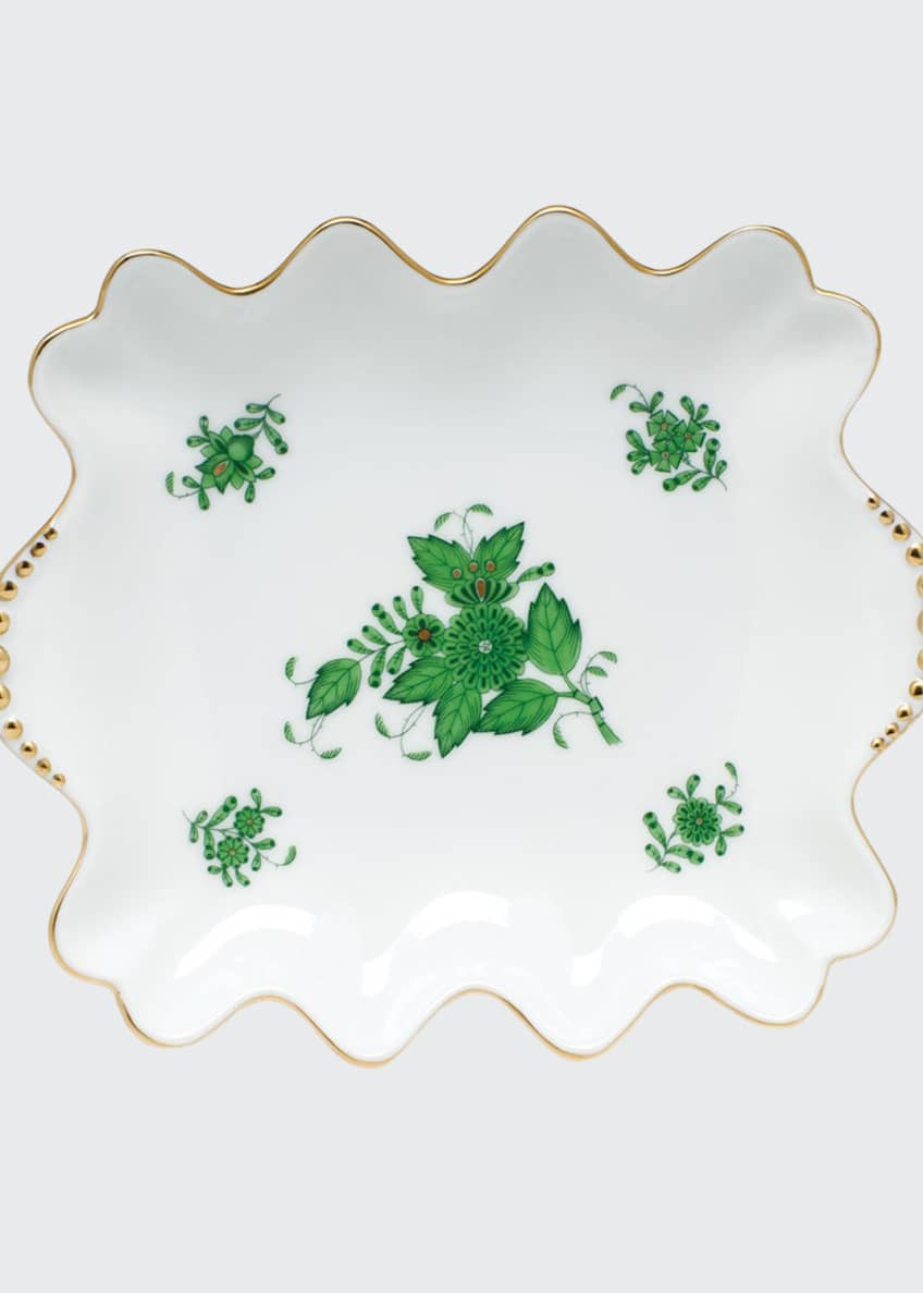 Herend Chinese Bouquet Green Small Dish with Pearly