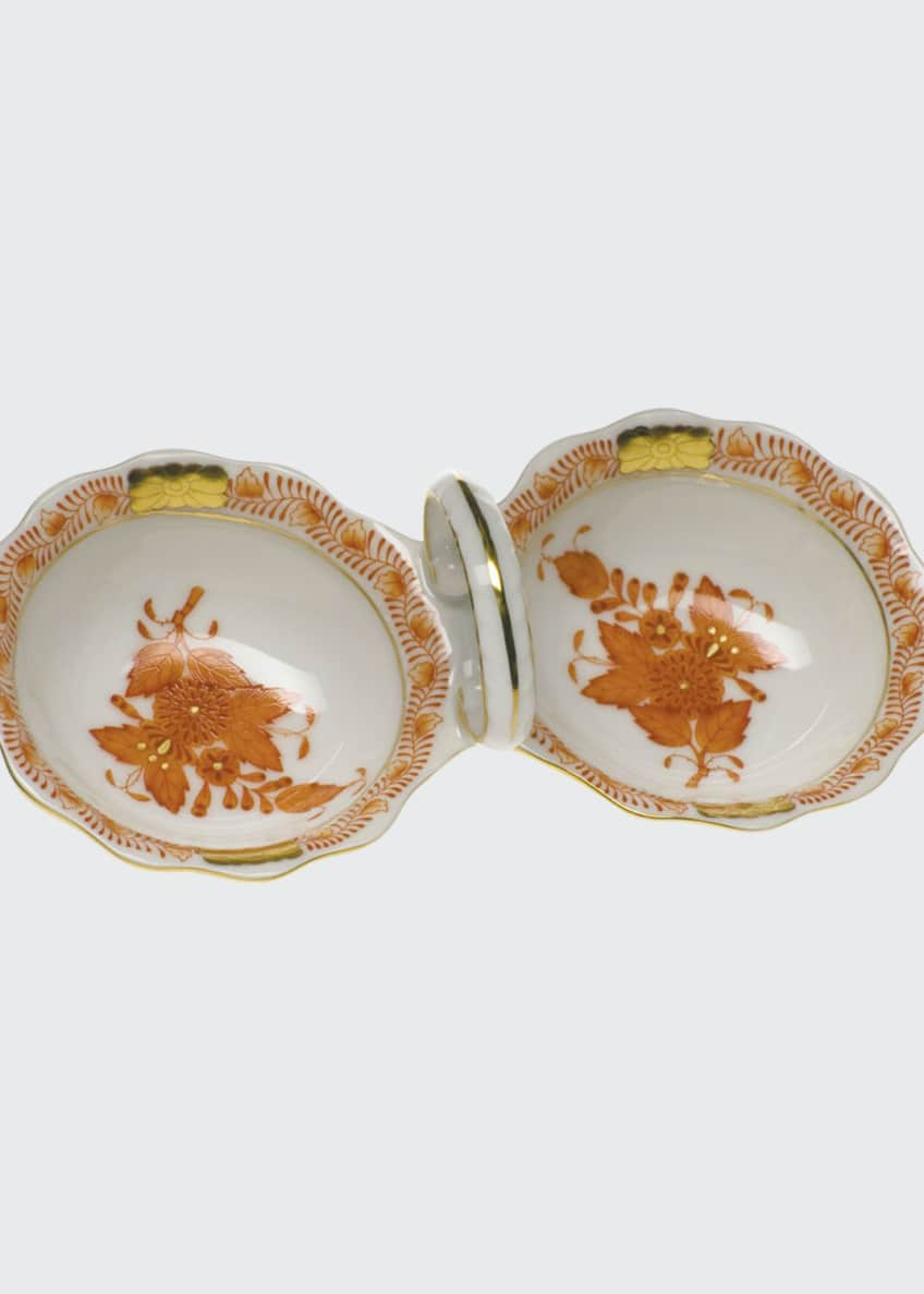 Herend Chinese Boutique Rust Twin Salt Dish