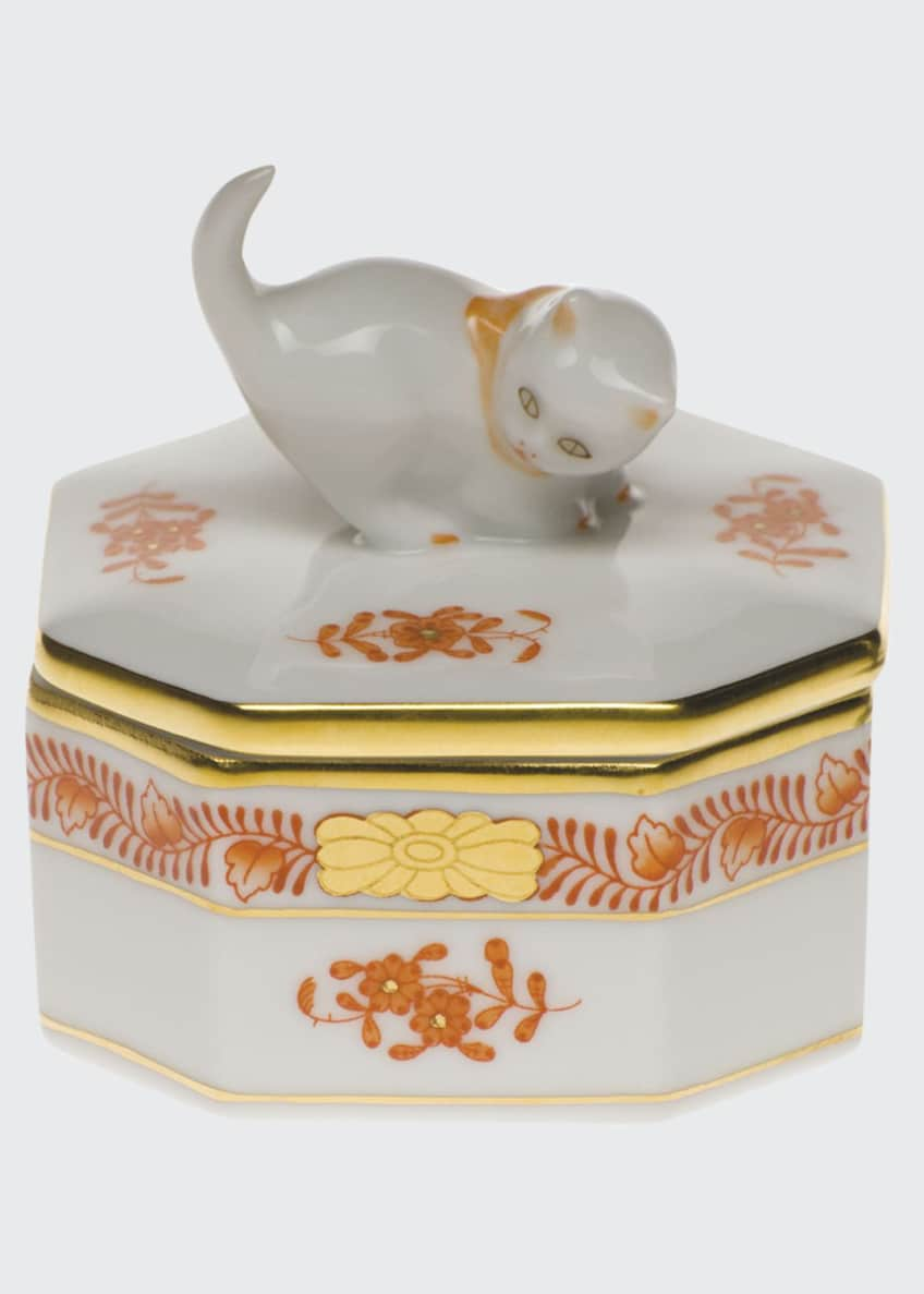 Herend Chinese Boutique Rust Small Octagonal Cat Box