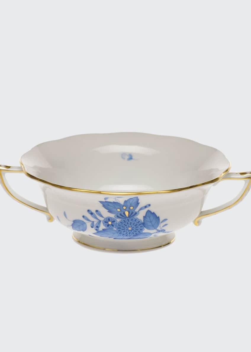 Herend Chinese Bouquet Blue Cream Soup Cup