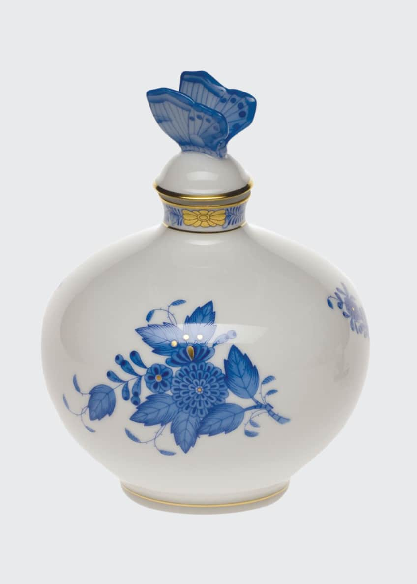 Herend Chinese Bouquet Blue Perfume Bottle with Butterfly