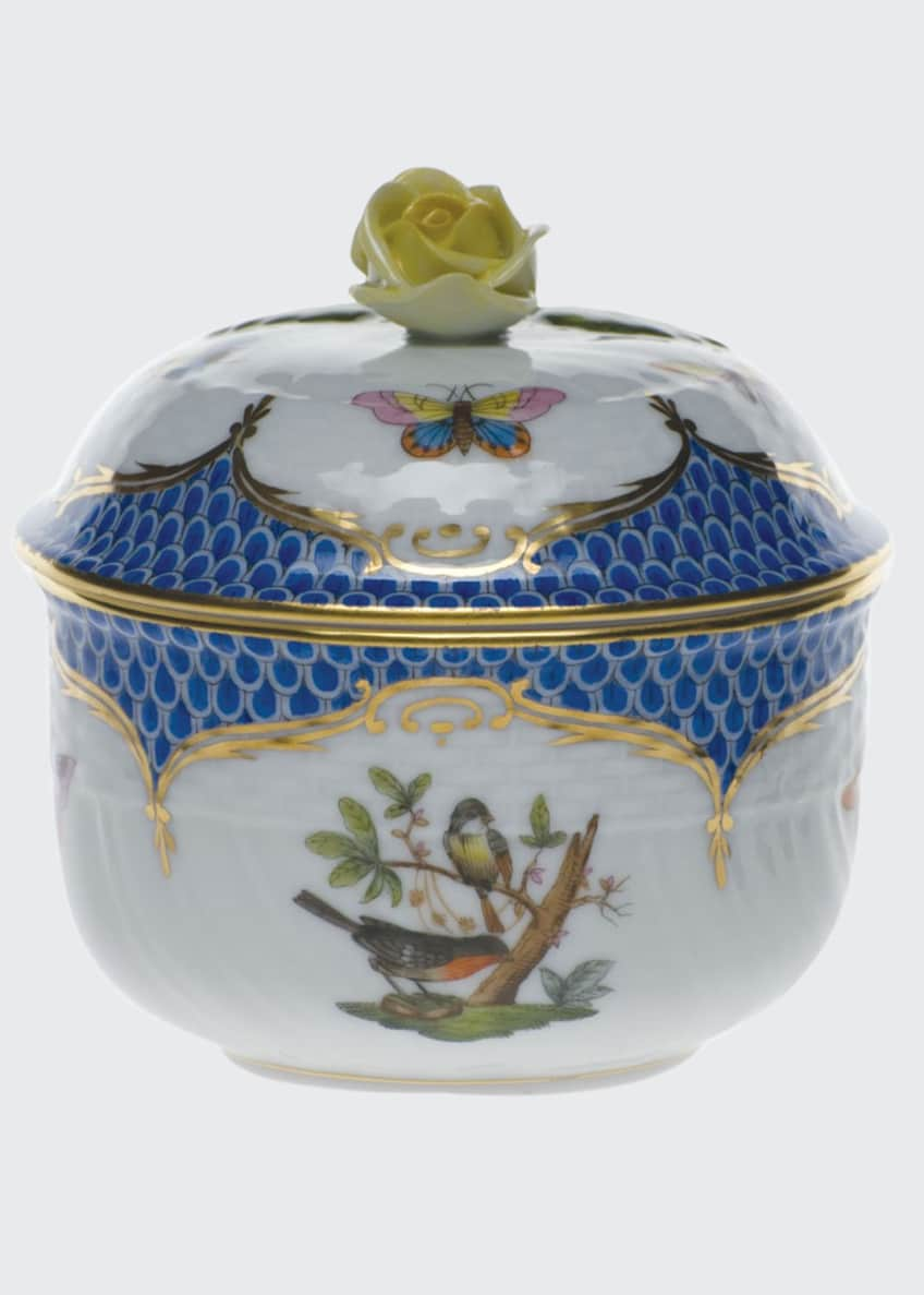 Herend Rothschild Blue Covered Sugar Dish with Rose