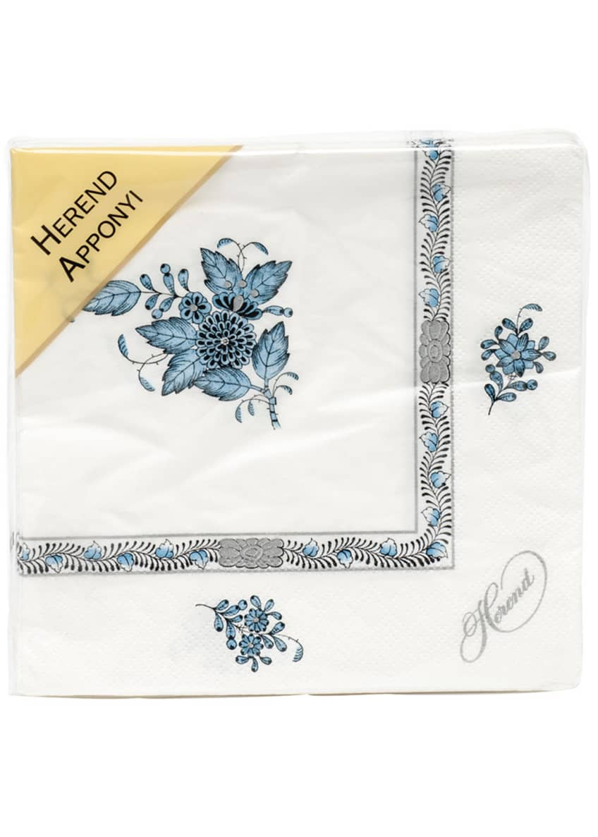Image 1 of 1: Chinese Boutique Turquoise Paper Napkins, Set of 20