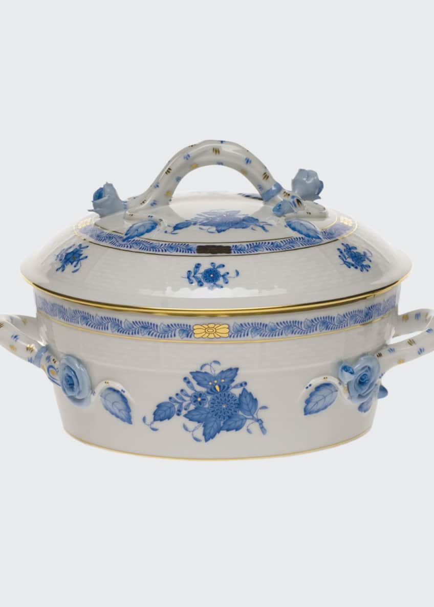 Herend Chinese Bouquet Blue Small Covered Vegetable Dish
