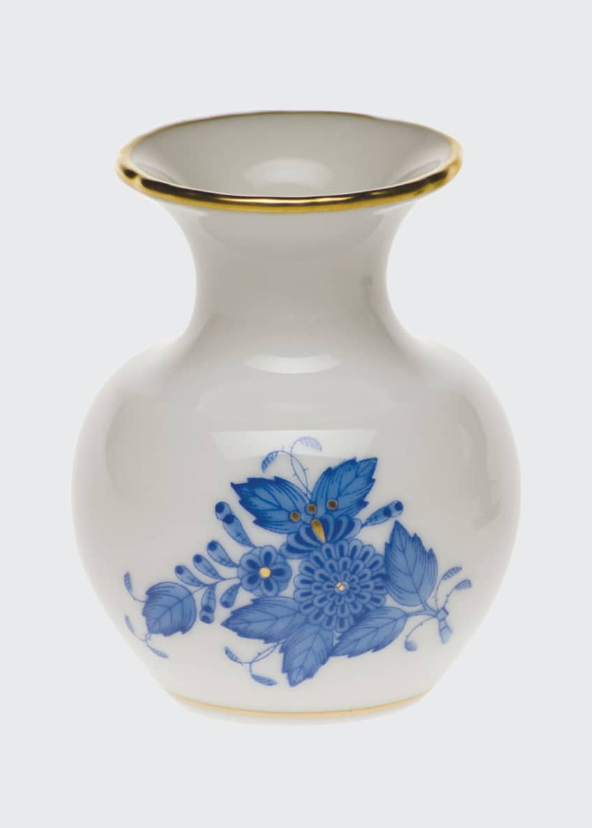 Herend Chinese Bouquet Blue Medium Bud Vase with