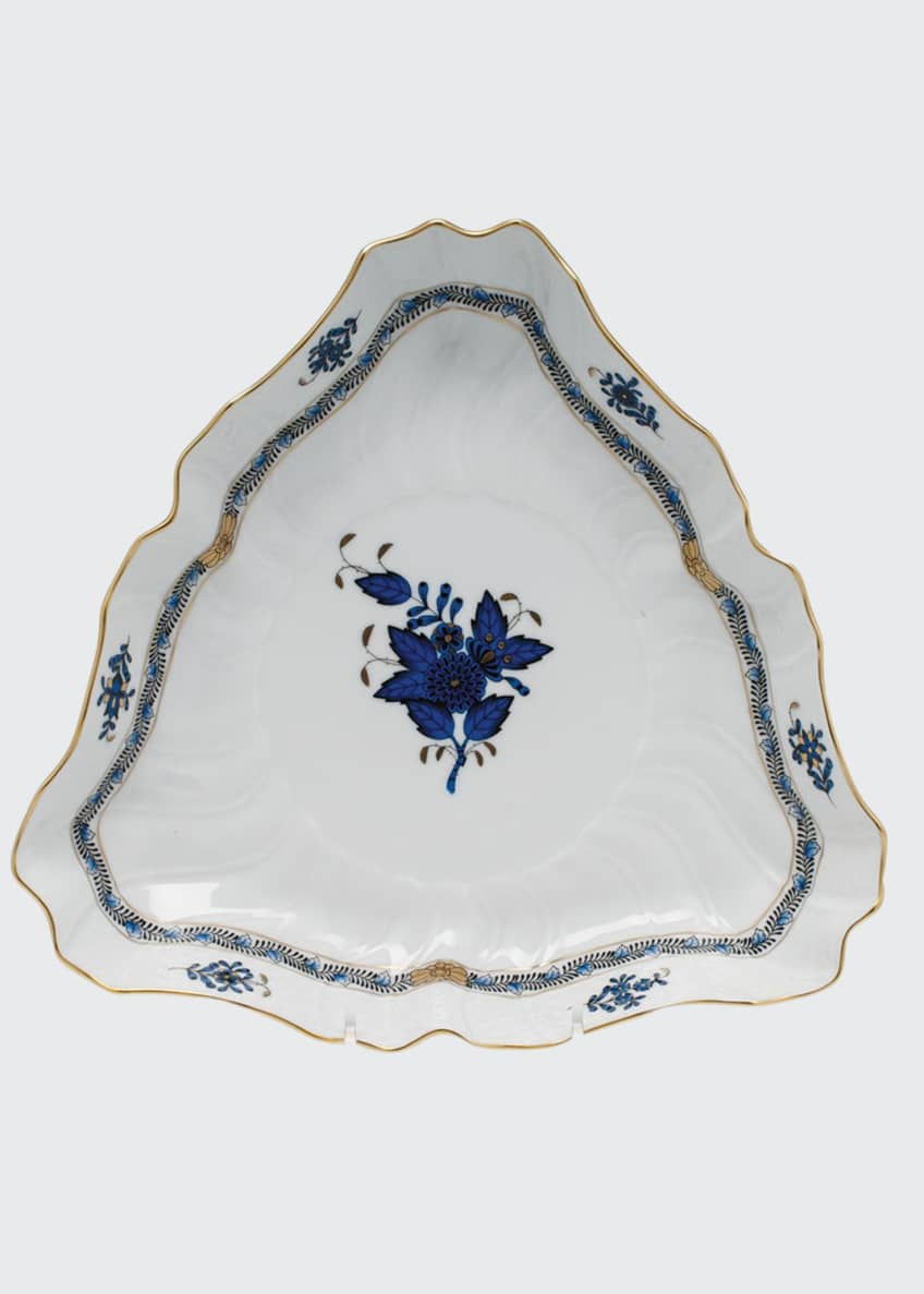 Herend Chinese Bouquet Black Sapphire Triangle Dish