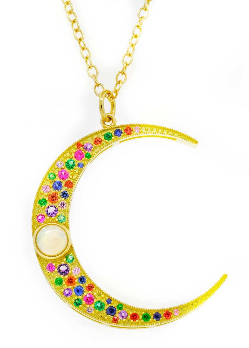 Andrea Fohrman 18k Large Luna Mixed Necklace