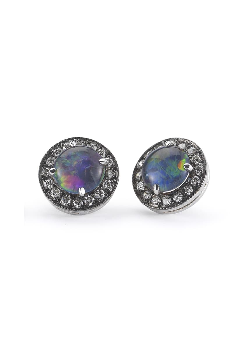 Andrea Fohrman Australian Opal Diamond-Trim Earrings