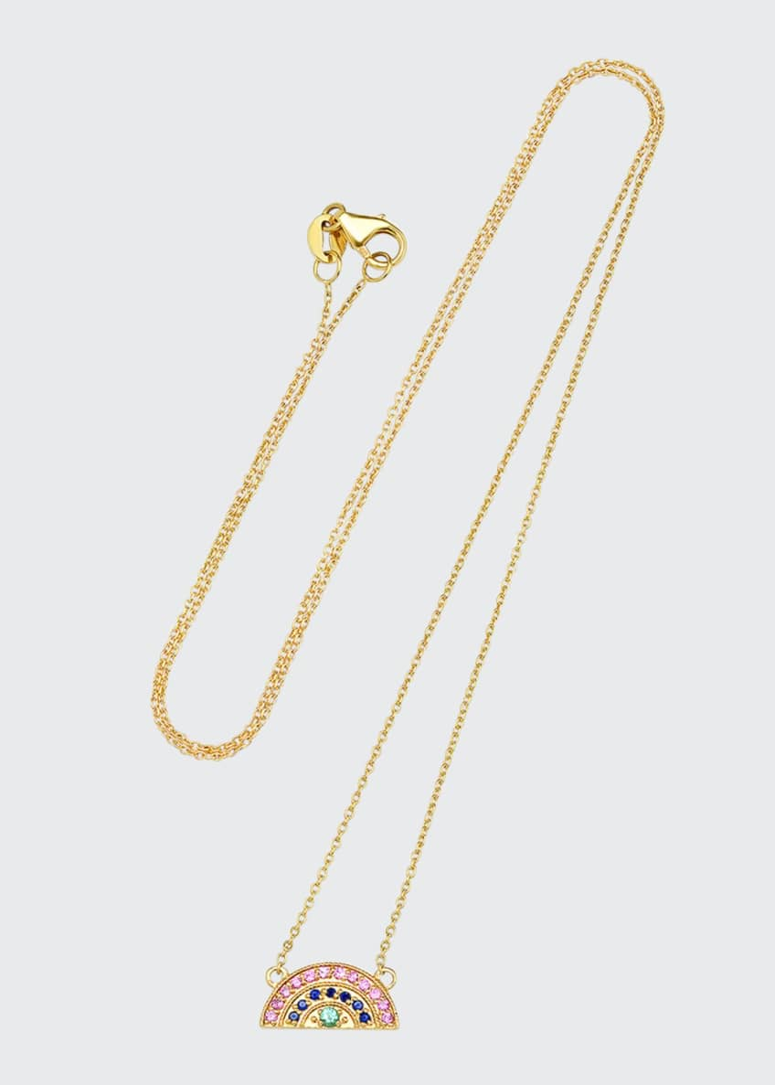 Andrea Fohrman 14k Mini Rainbow Pave Necklace