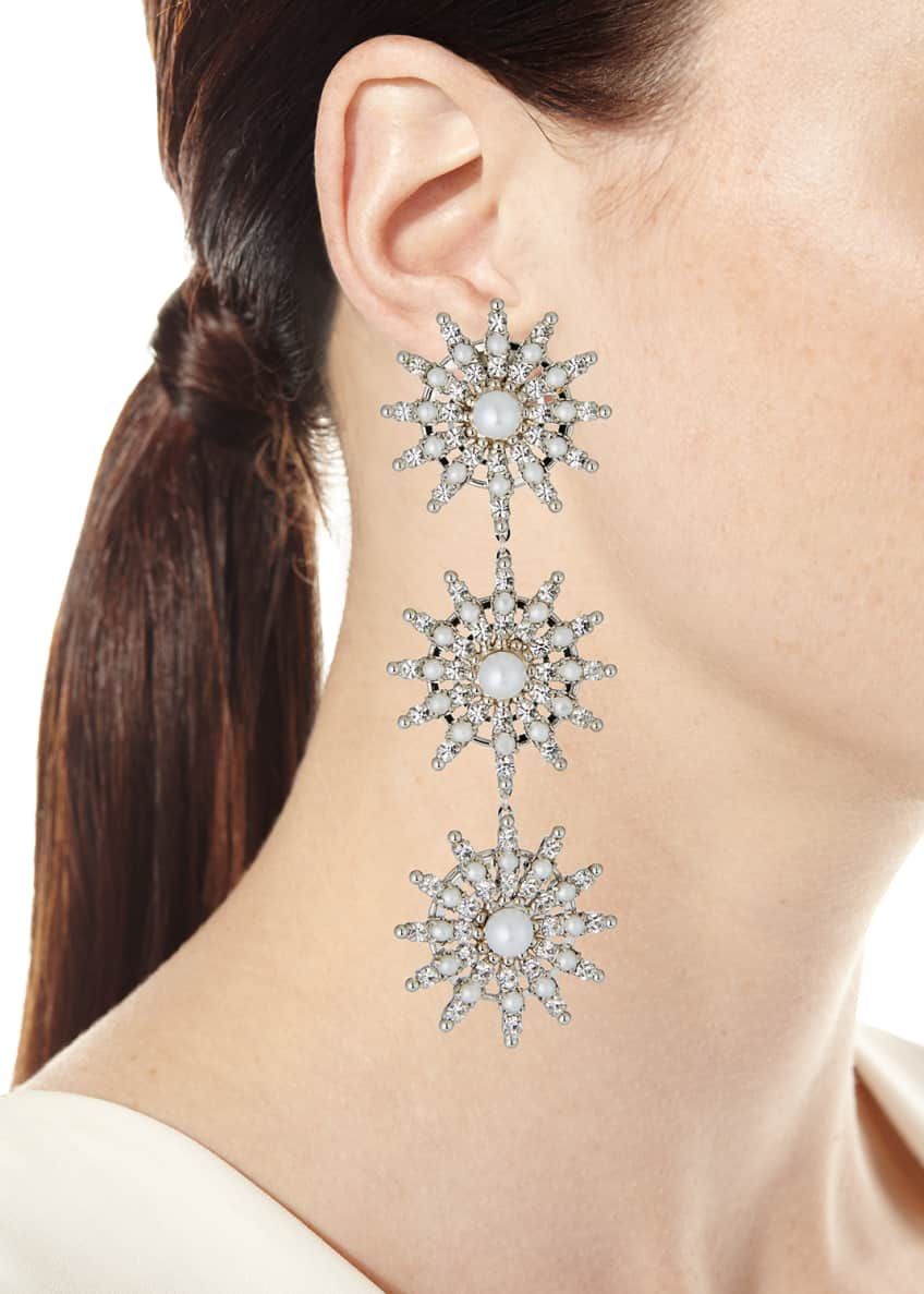 Image 2 of 2: Pearly Crystal-Spike Linear Clip Earrings