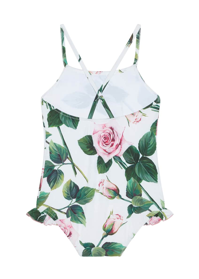Image 2 of 4: Girl's Tropical Rose Ruffle One-Piece Swimsuit, Size 4-6