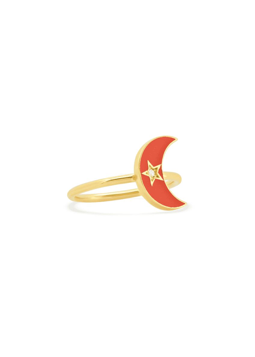 Andrea Fohrman 18k Pink Enamel Crescent Ring, Size