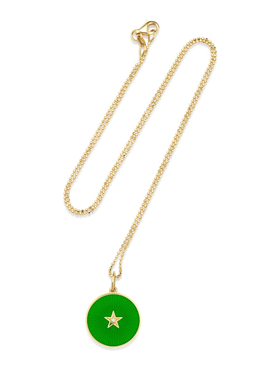 Andrea Fohrman 18k New Full Moon Necklace, Green