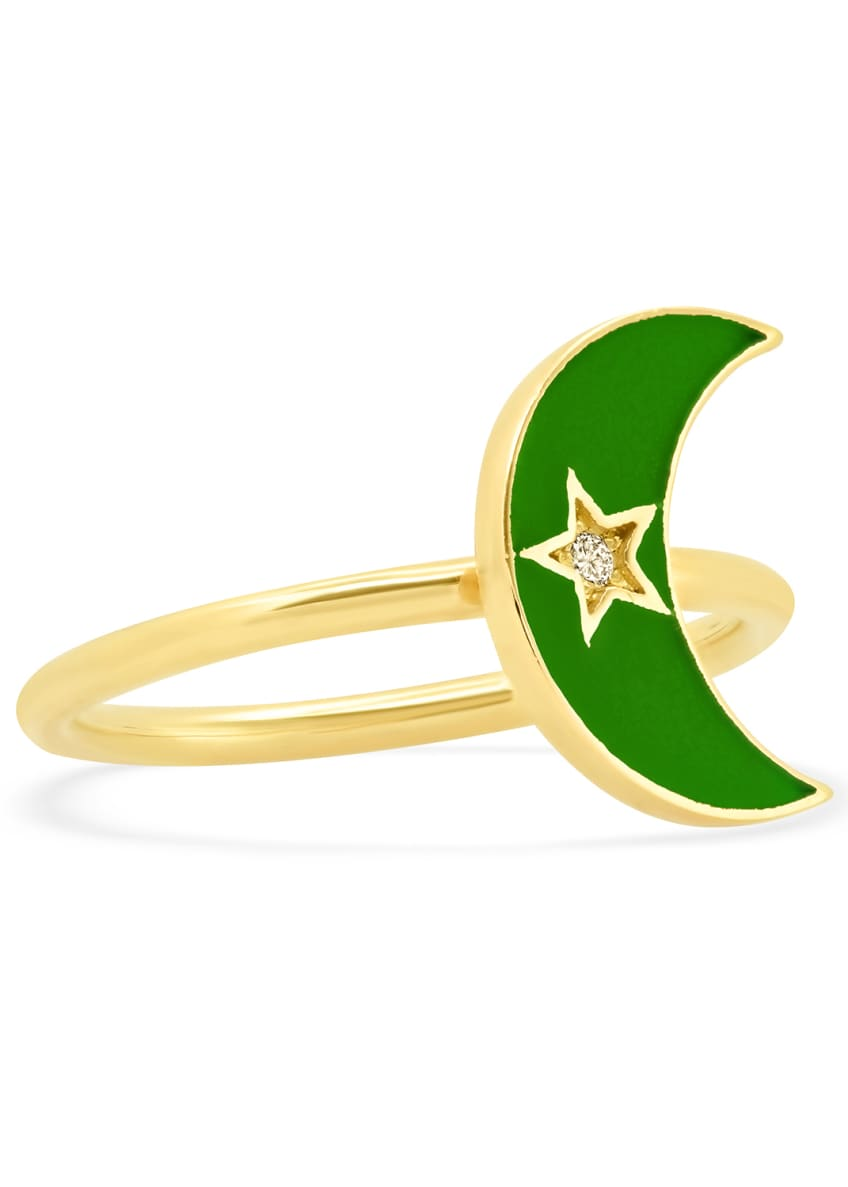 Andrea Fohrman 18k Kelly Green Enamel Crescent Ring,