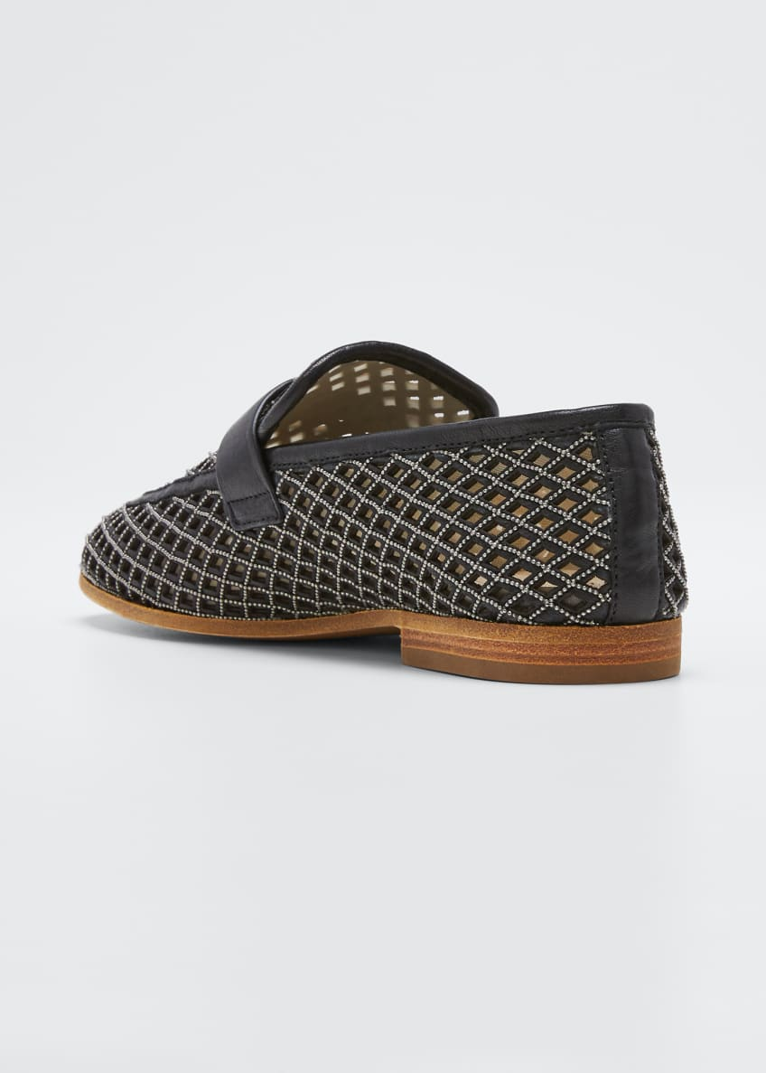 Image 2 of 3: Monili Leather Laser-Cut Loafers