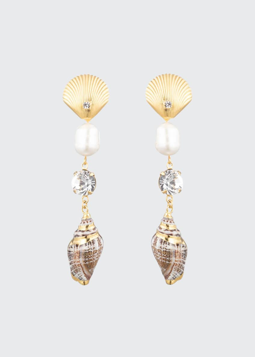 Dannijo Marin Linear Shell Earrings