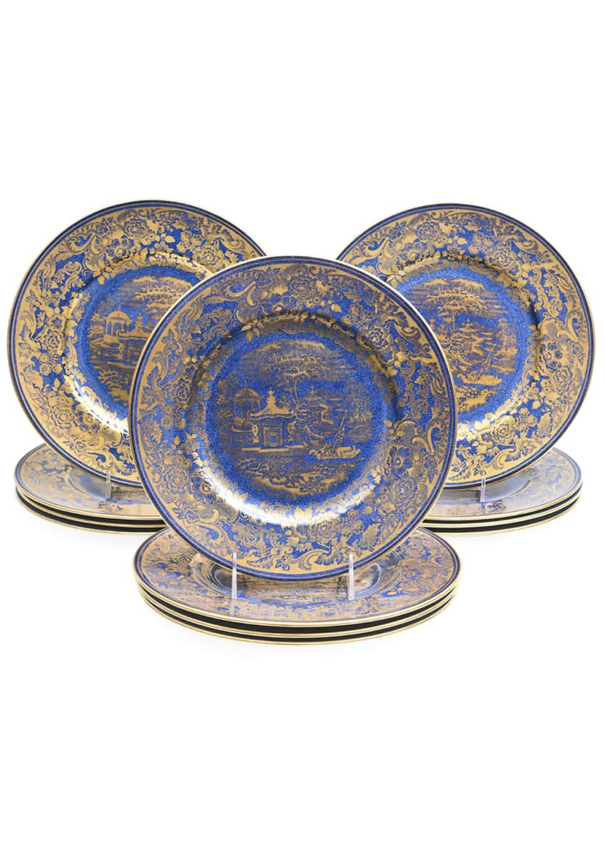 Devonia Antiques Crushed Lapis Gold Chinoiserie Plates, Set