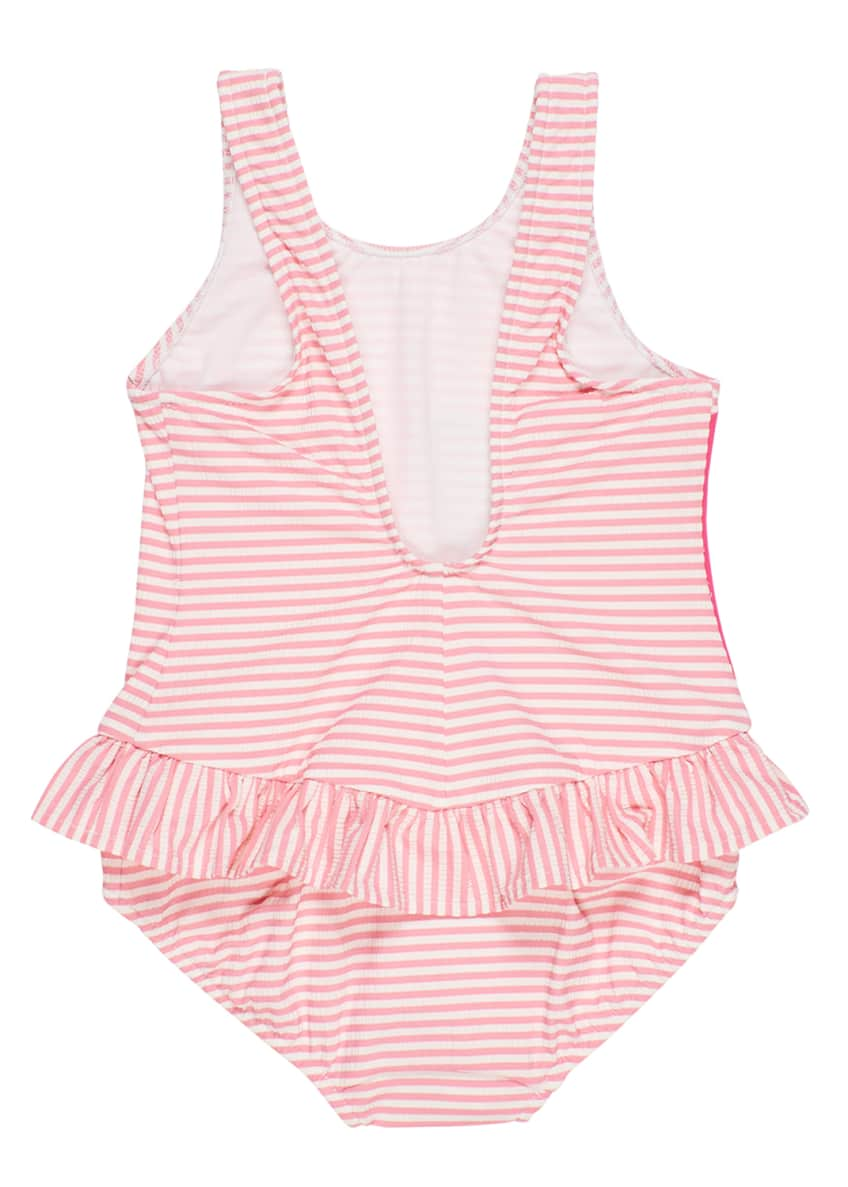 Image 2 of 2: Striped Seersucker Ruffle Skirt One-Piece Swimsuit, Size 2-6X