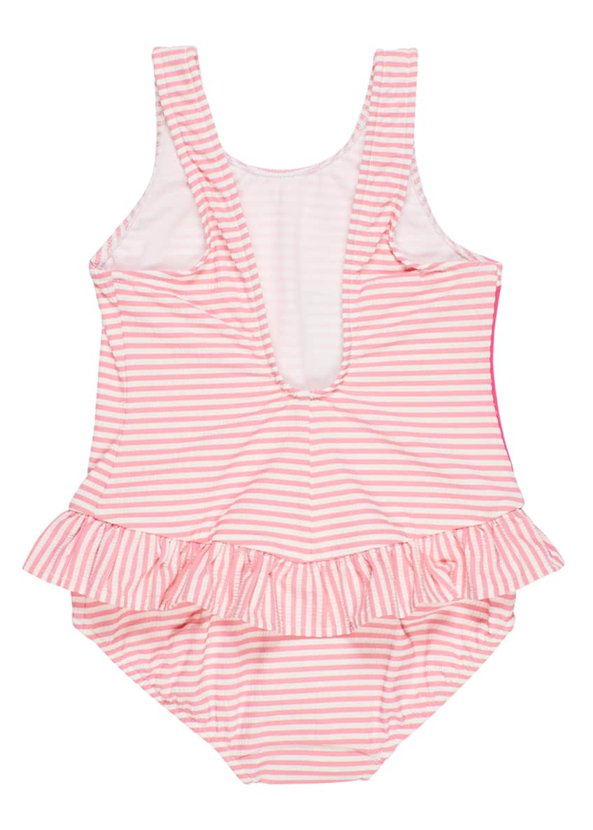 Image 2 of 4: Striped Seersucker Ruffle Skirt One-Piece Swimsuit, Size 6-24 Months