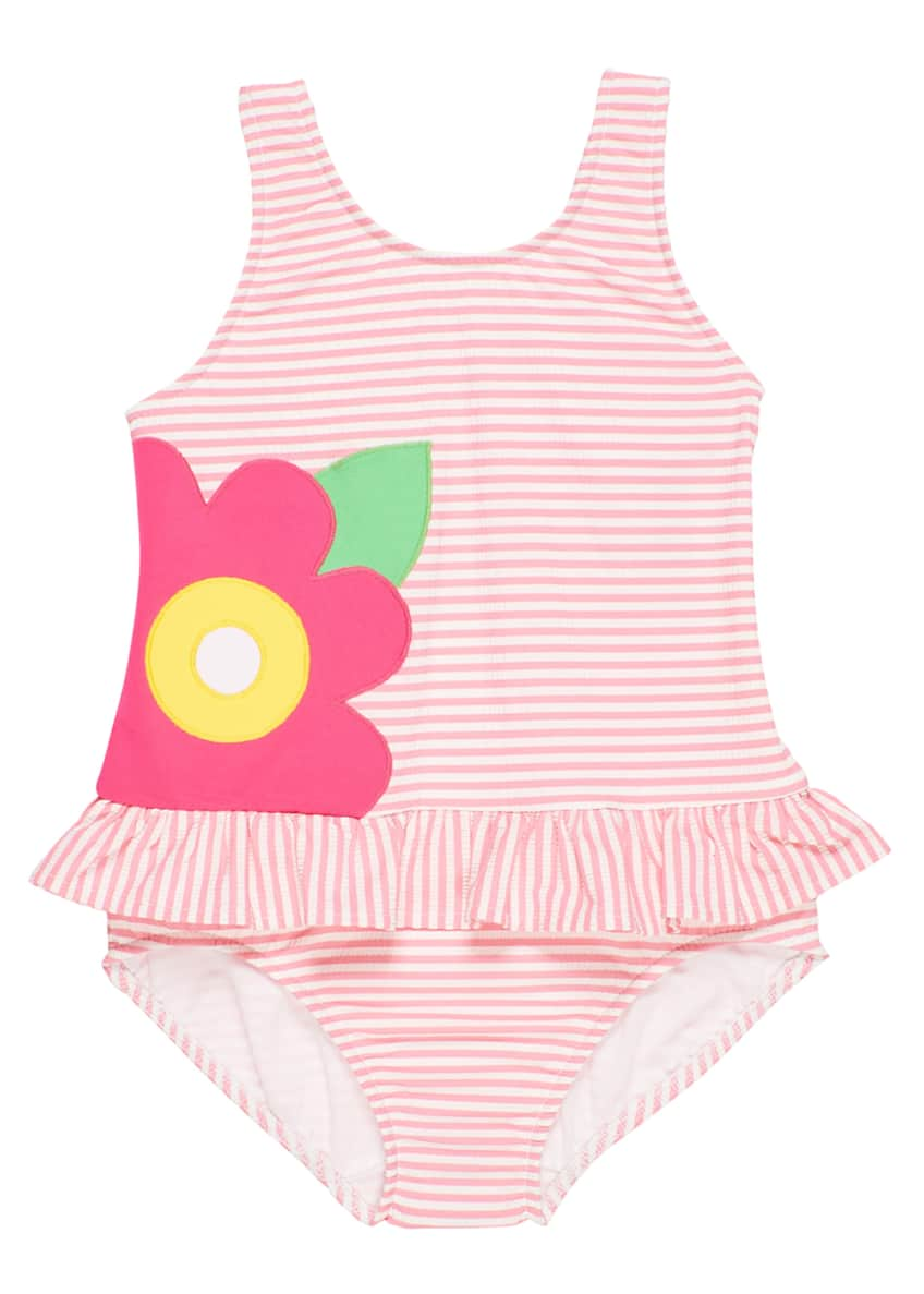 Image 1 of 4: Striped Seersucker Ruffle Skirt One-Piece Swimsuit, Size 6-24 Months