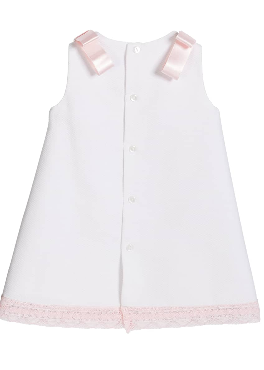Image 2 of 4: Girl's Pique Lace-Trim Dress, Size 3-18 Months