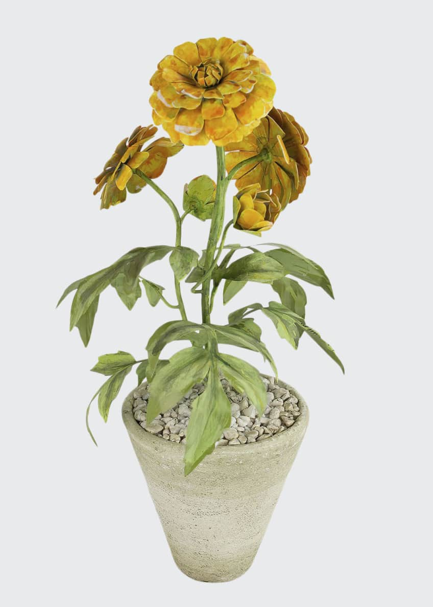 Image 1 of 1: Marigold October Birth Flower in White Terracotta Pot