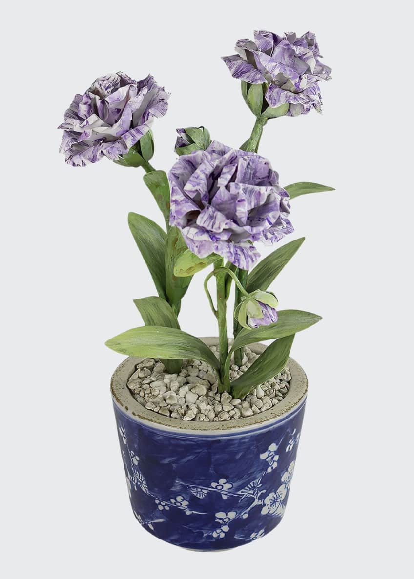 Image 1 of 1: Carnation January Birth Flower in Ceramic Pot