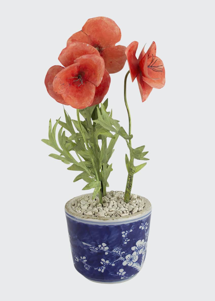 Image 1 of 1: Poppy August Birth Flower in Ceramic Pot