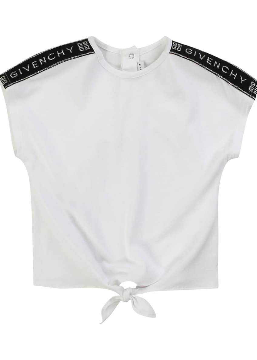 Image 1 of 4: Girl's Logo Shoulder Tie-Front Tee, Size 2-3