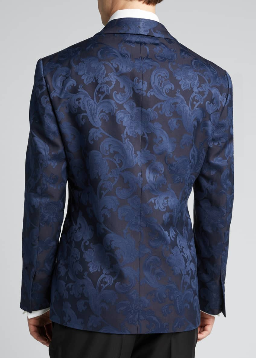Image 2 of 5: Men's Silk Jacquard Dinner Jacket