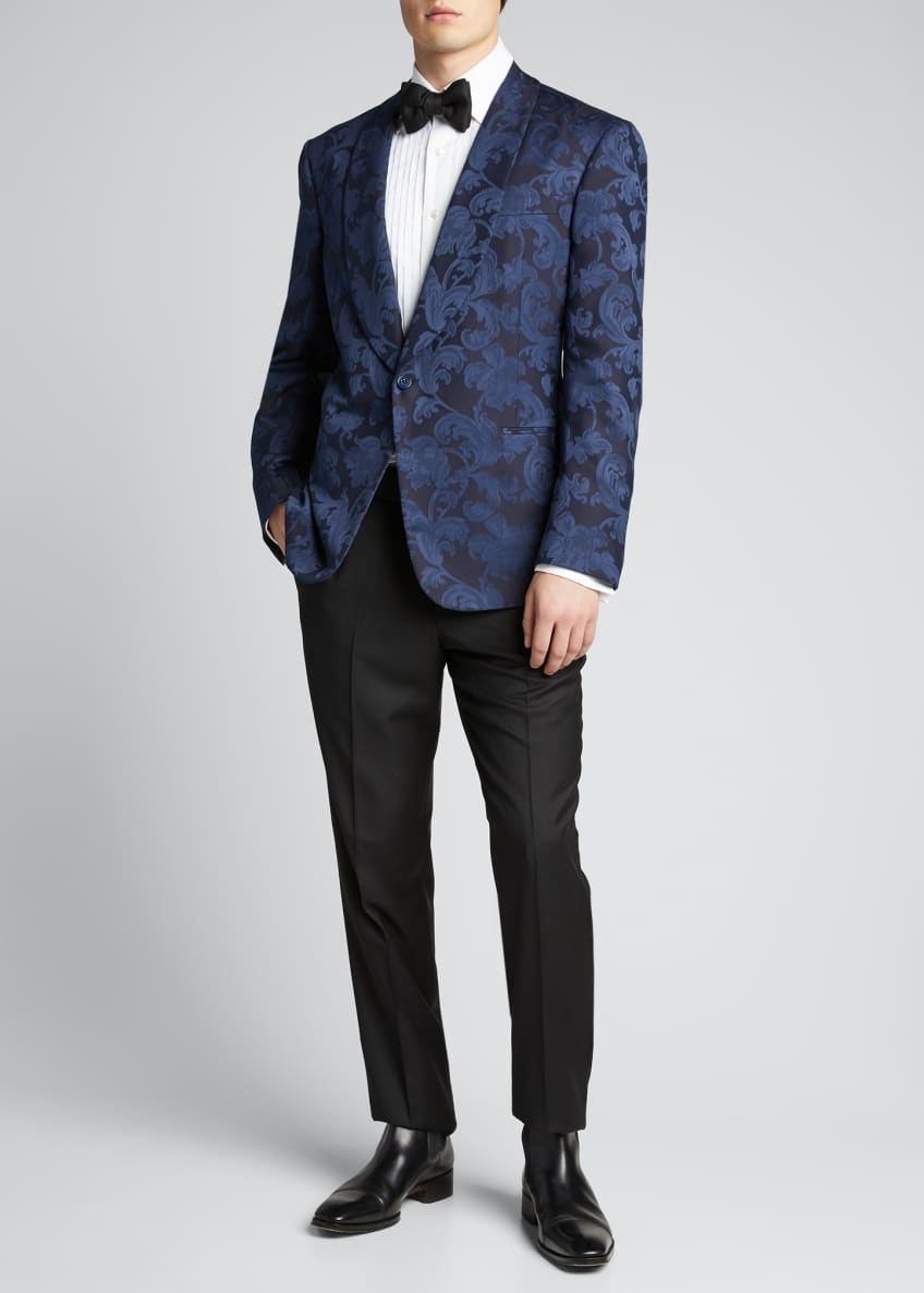 Image 1 of 5: Men's Silk Jacquard Dinner Jacket