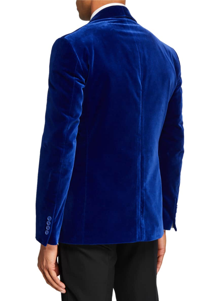 Image 2 of 3: Men's Solid Velvet Dinner Jacket, Blue