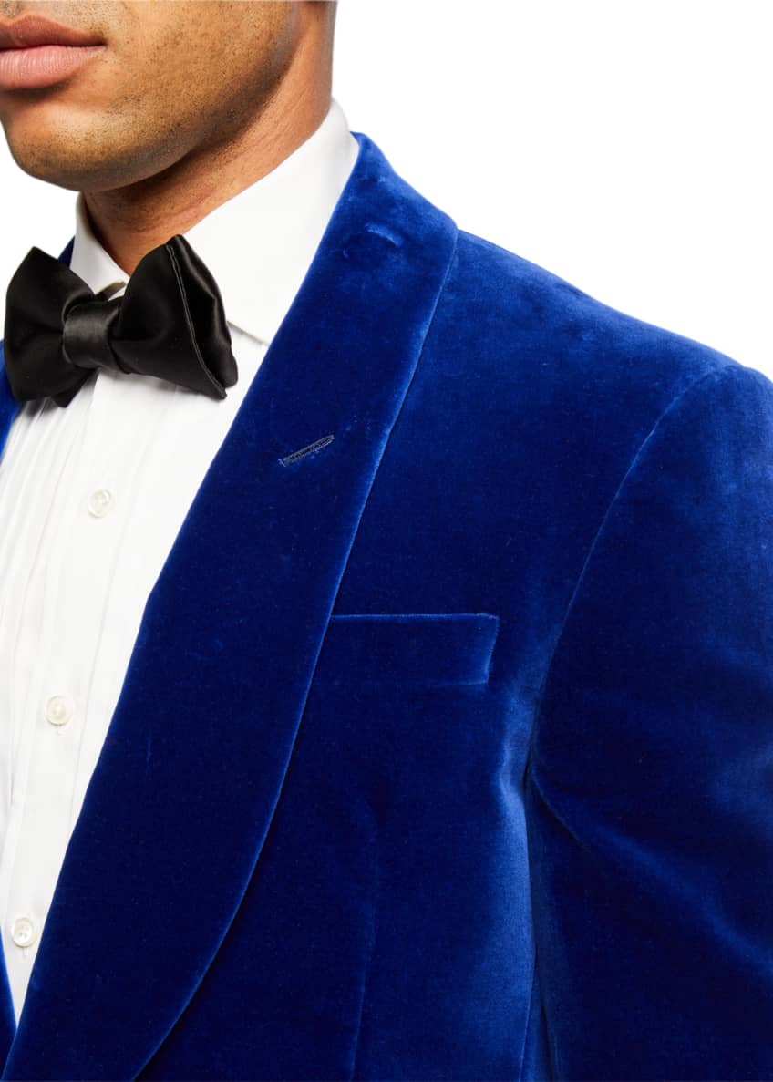 Image 3 of 3: Men's Solid Velvet Dinner Jacket, Blue