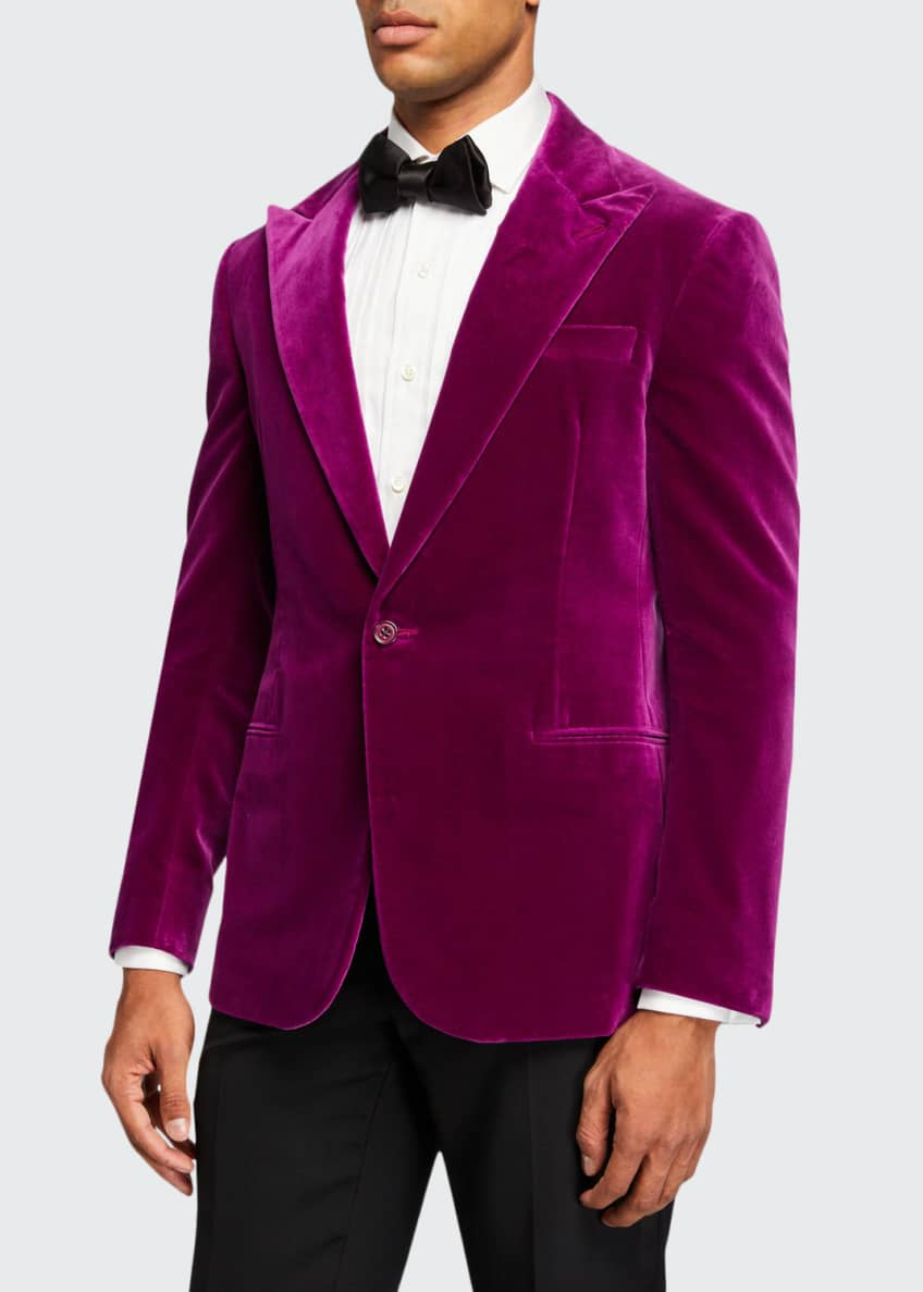 Ralph Lauren Men's Solid Velvet Dinner Jacket, Pink
