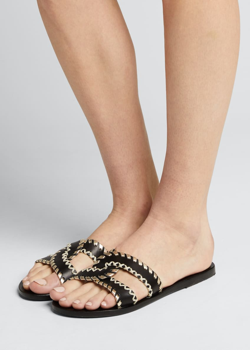 Image 2 of 5: Desmos Stitch Cross Flat Slide Sandals